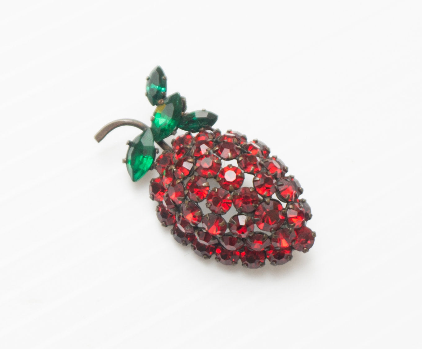 Vintage Austrian Crystal Red Pave Strawberry Brooch Pin