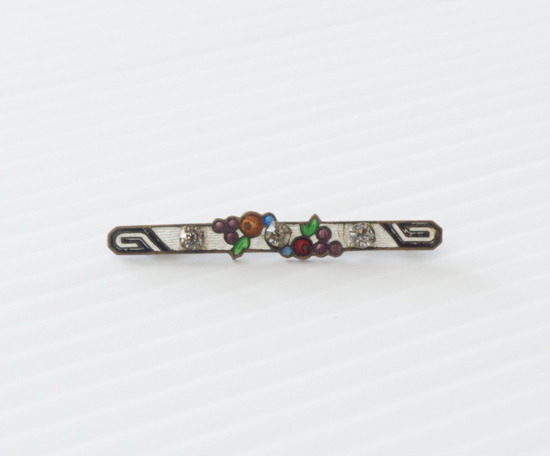 Vintage Antique Enamel and Rhinestone Simple Art Deco Bar Collar Pin