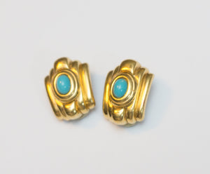 Signed Vintage Ciner Art Deco Goldtone Turquoise Glass Cabachon Clip Earrings