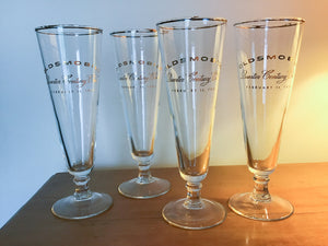 Set of Oldsmobile Quarter Century Club Pieces - Four Pilsner Glasses and Two Glass Dishes
