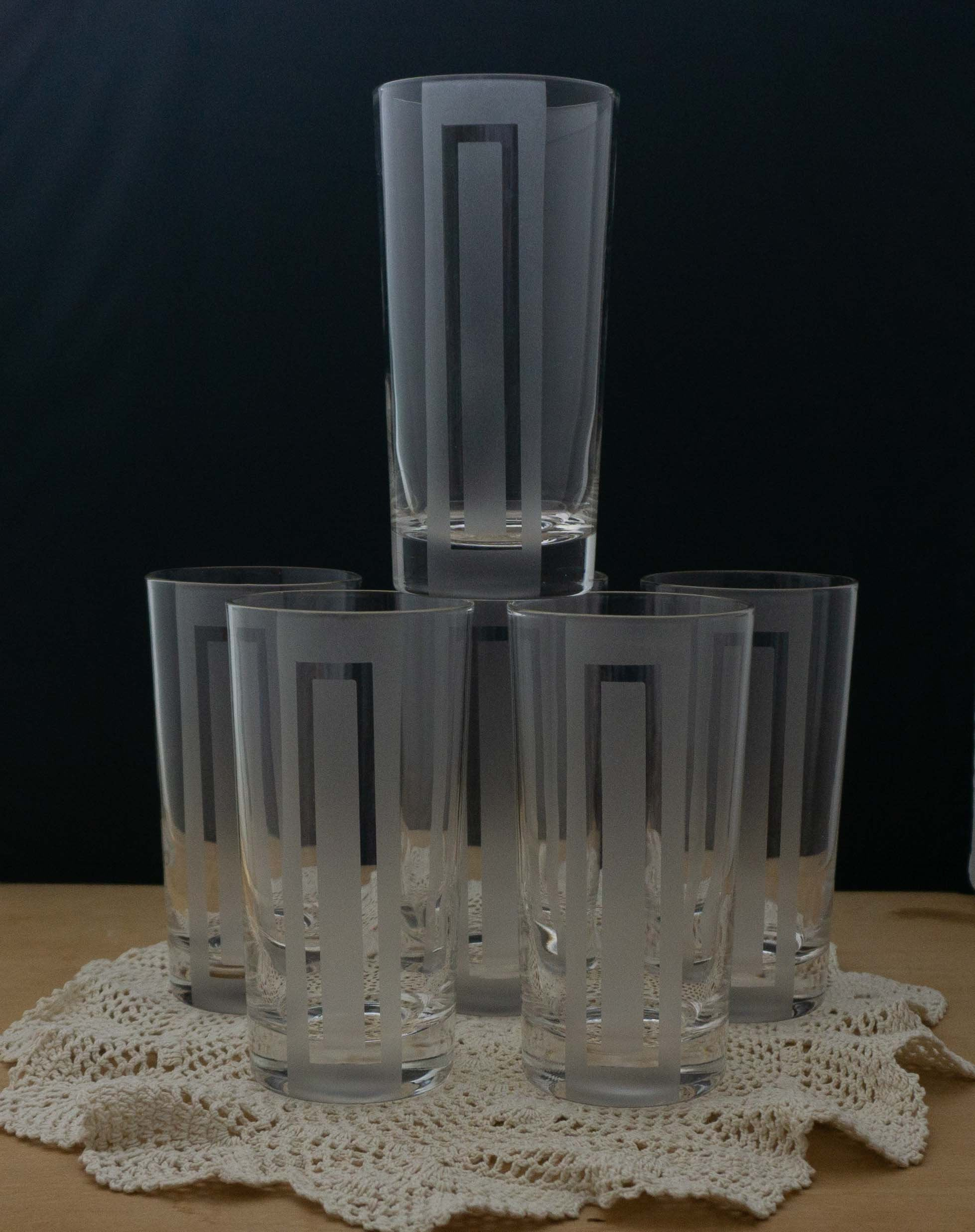 SIX Vintage Highball Zombie 12 Ounce Mid Century Modern Glasses Unmarked Clear Etched Barware