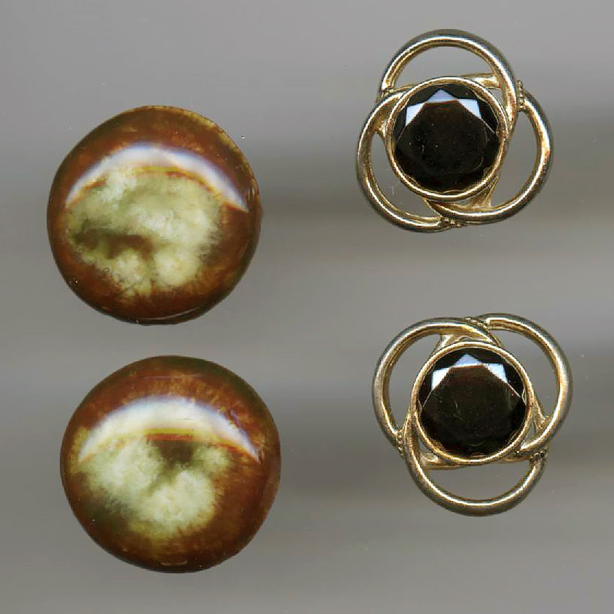 Two Pair of Flashy Groovy Vintage Cuff Links Ceramic and Rhinestone Don Draper Manmen