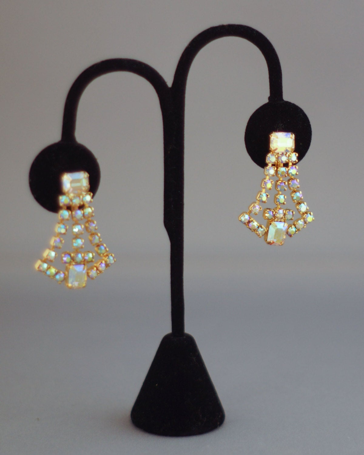 Vintage Signed Weiss Crystal Pageant Runway Style Dangley Screw-back Earrings