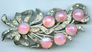 Very Early Large Pink Moonglow Rhinestone Pot Metal Brooch