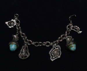 Vintage Native American Themed Silvertone and Faux Turquoise Chunky Charm Bracelet