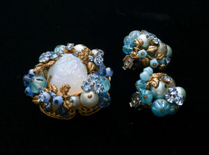 Vintage Jonne by Schrager of New York Demi Parure Brooch and Clip Earrings