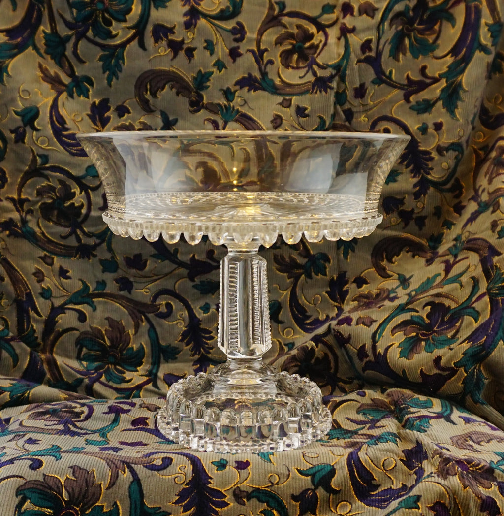 Large Victorian Glass Footed Compote by King, Son and Company 1889