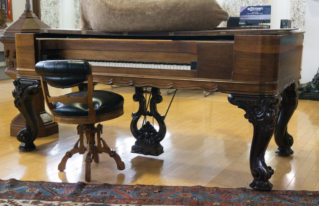 Antique Mathushek Rosewood 1870s Square Orchestral Grand Piano & Stool