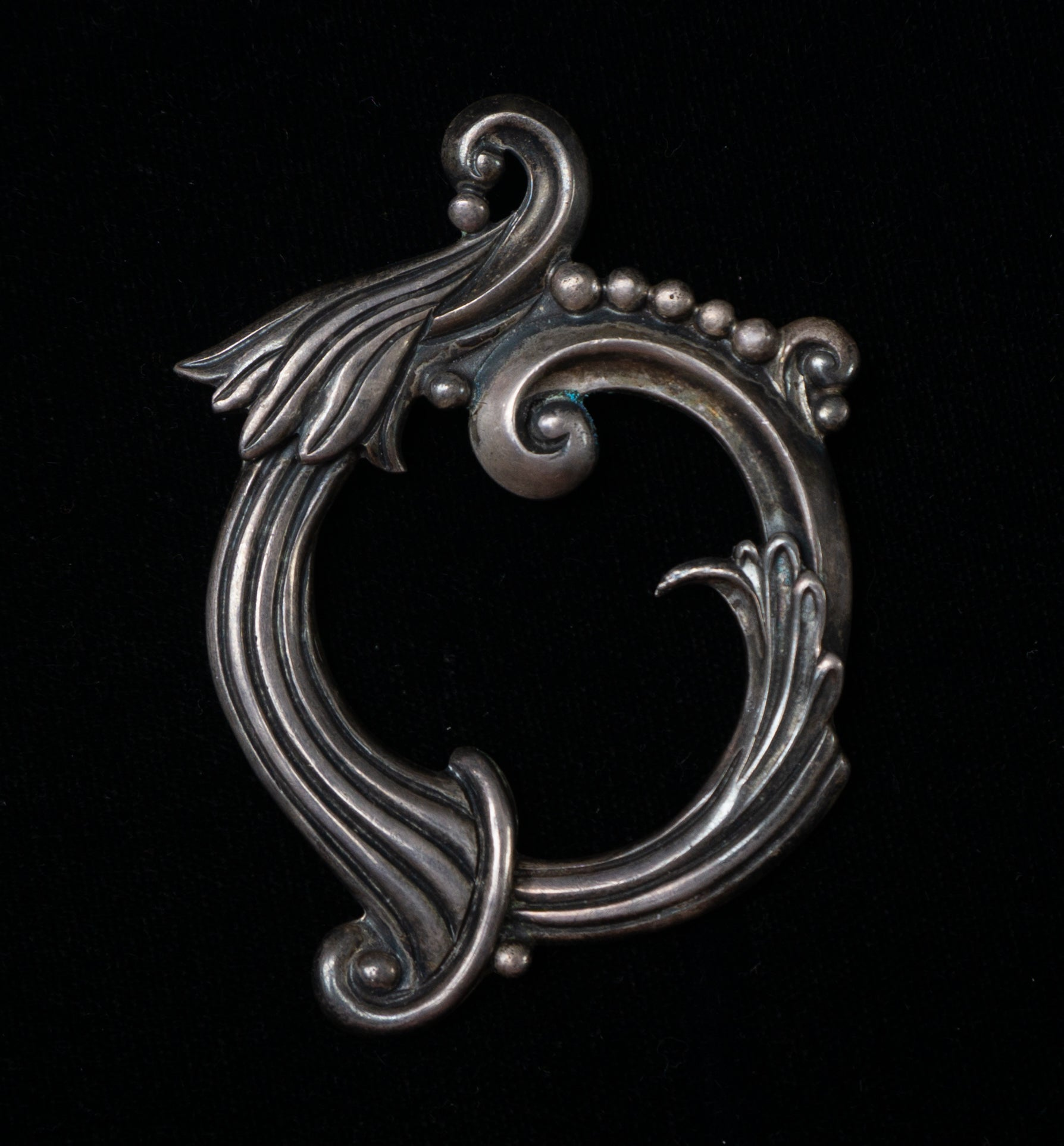 Margot de Taxco Mexican Sterling Silver Squash Blossom Swirls and Beads Circle Brooch