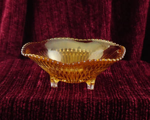 Anniversary Iridescent by JEANNETTE 3-Footed Open Candy Dish Marigold Orange Carnival Glass
