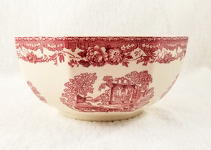 Vintage Octagonal Vegetable Serving Bowl in Fountains by Mason's Red Pink Transferware