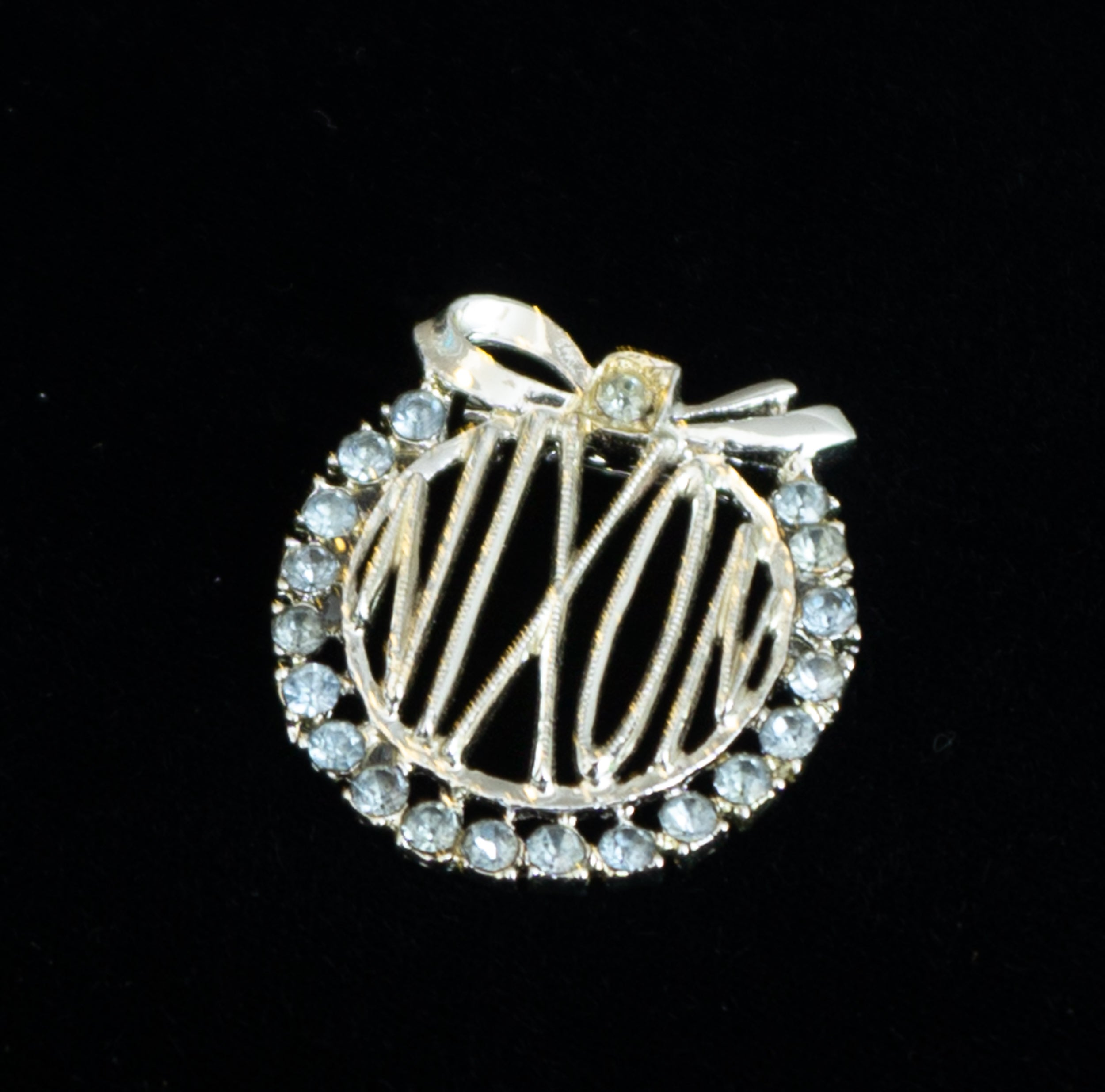 Vintage Richard Nixon Brooch with Bow and Light Blue Rhinestones Political Memorabilia