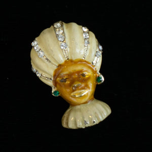 Beautiful Vintage Blackamoor Man Fortune Teller in Turban Enamel Brooch