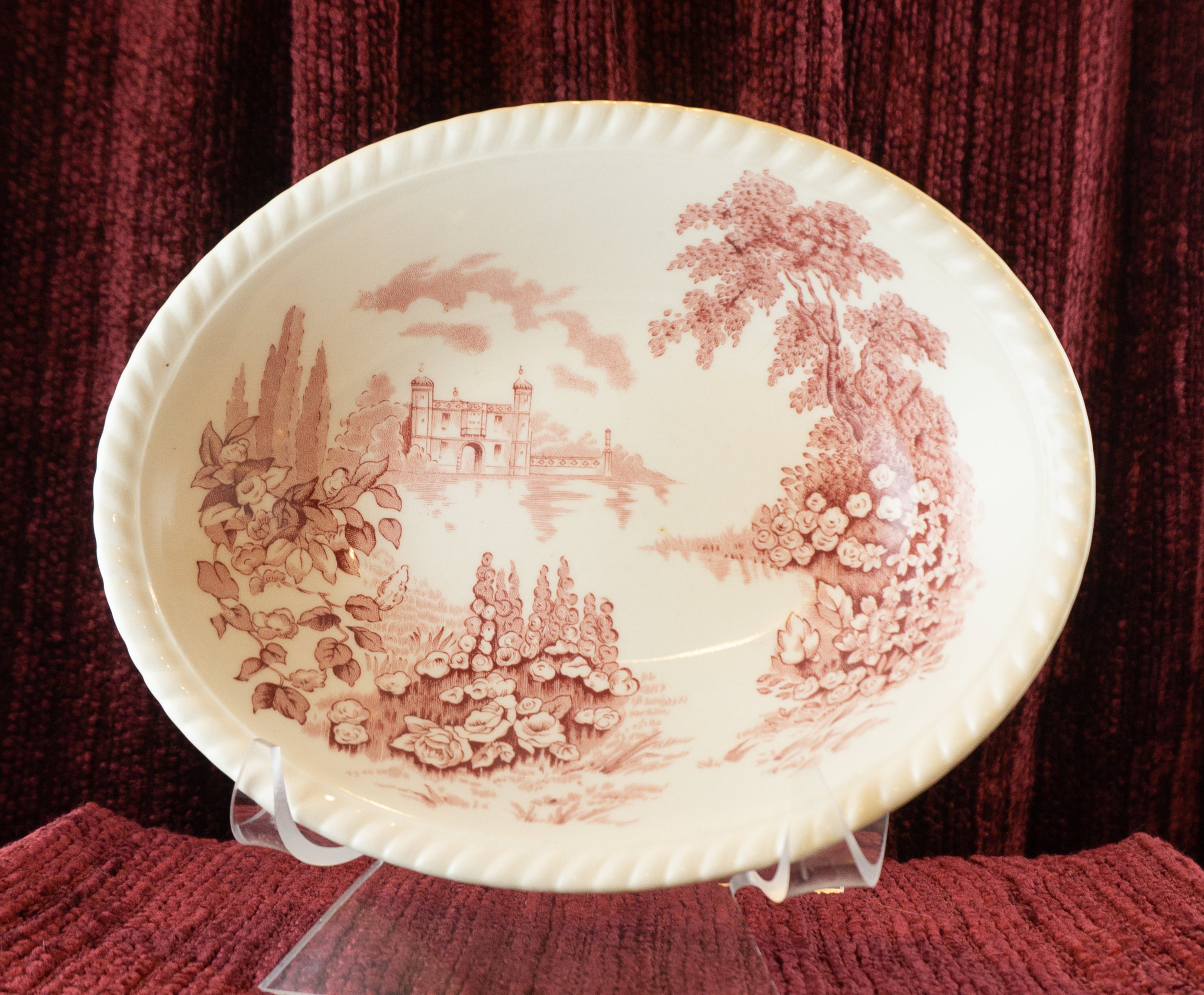 "9"" Oval Vegetable Bowl Castle On The Lake Pink Red by JOHNSON BROTHERS 1930s"