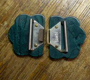 Vintage Bakelite Sash Buckle Dress Buckle Holland 1930's Marbled Dark Green