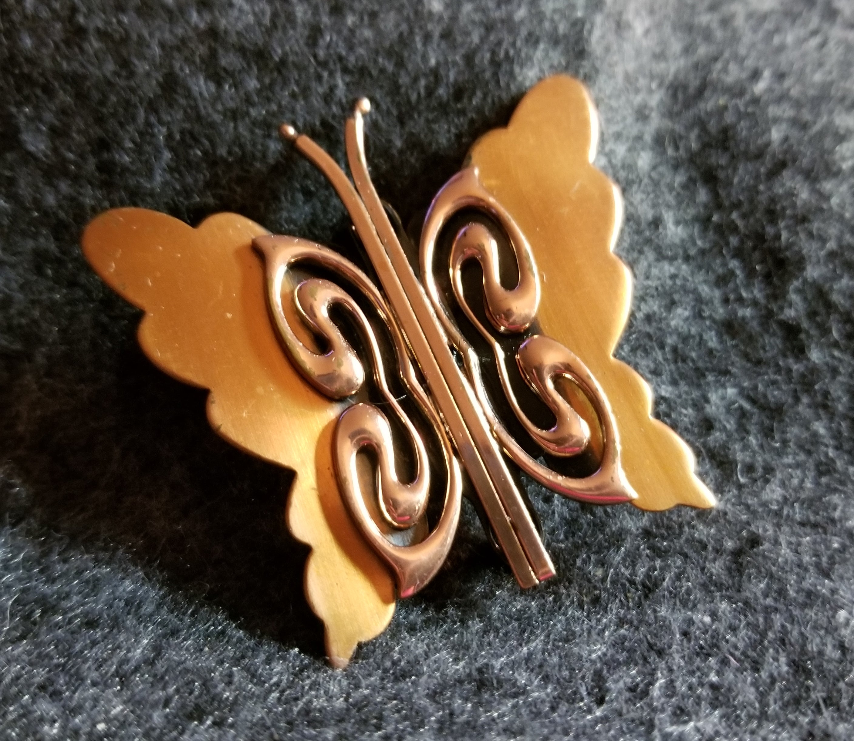 Signed Renoir Copper Butterfly Brooch Pin ca 1940 - 1960