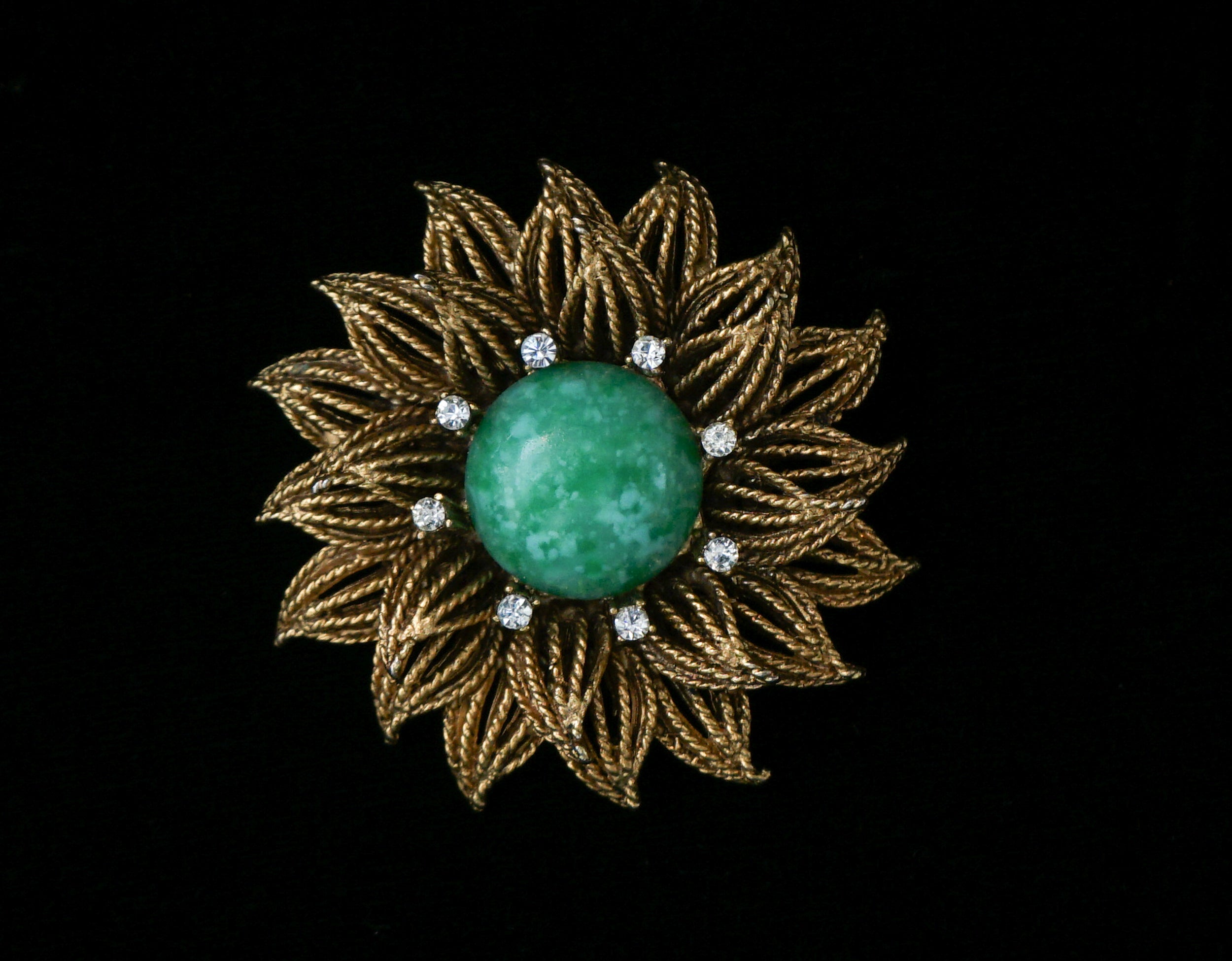 Signed Schrager Dahlia Flower Turquoise Rhinestone Gold Plated Brooch Pin Vintage Jewelry