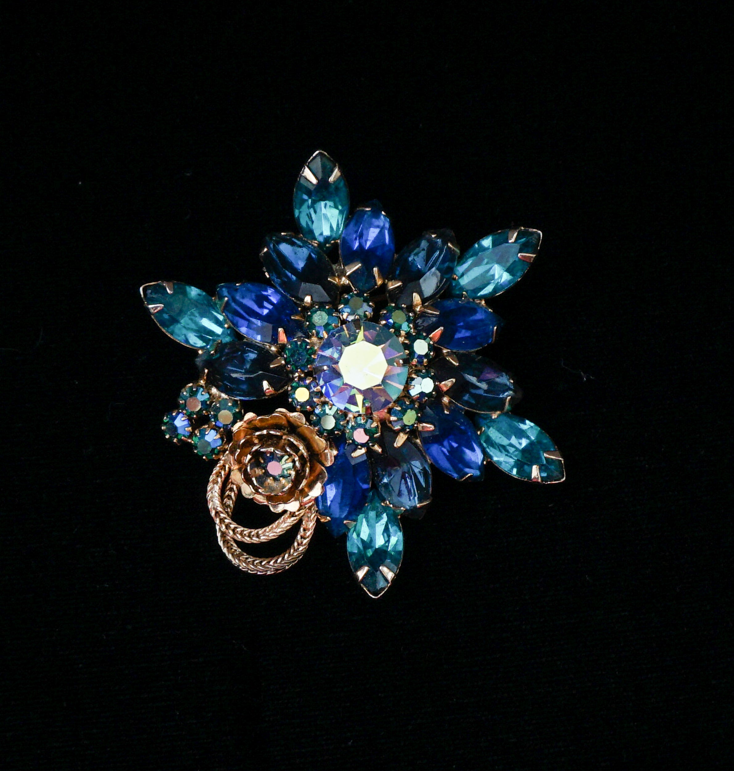 Signed Jonne Schrager Blue Rhinestone and Crystal Flower Brooch Vintage Jewelry