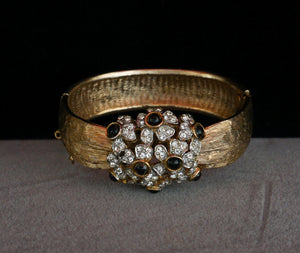 Signed Schrager Hinged Bangle with Flowers of Crystals and Black Cabochons Vintage Jewelry