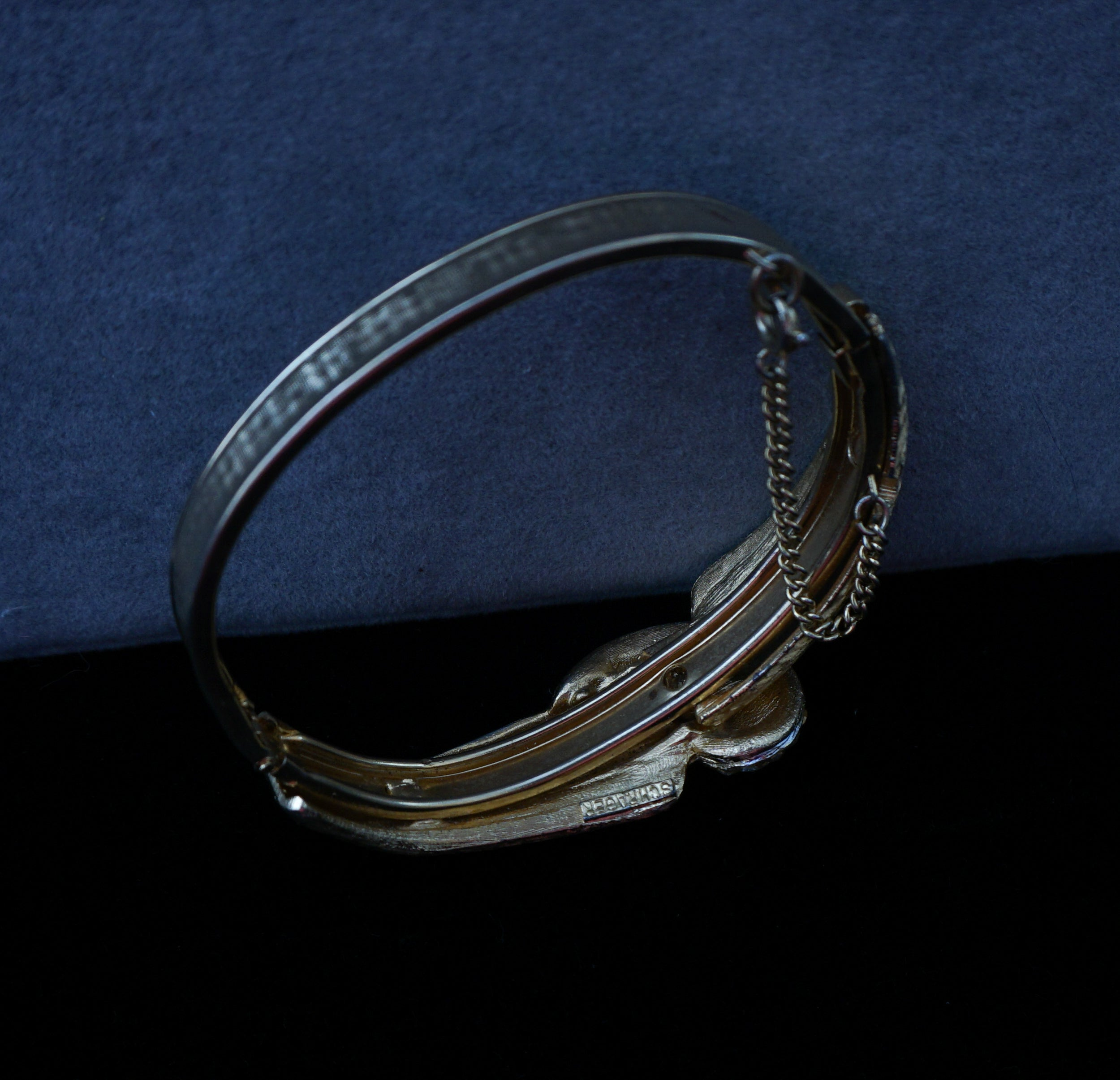 Signed Schrager Hinged Bangle Bracelet with Clear Crystals Vintage Jewelry