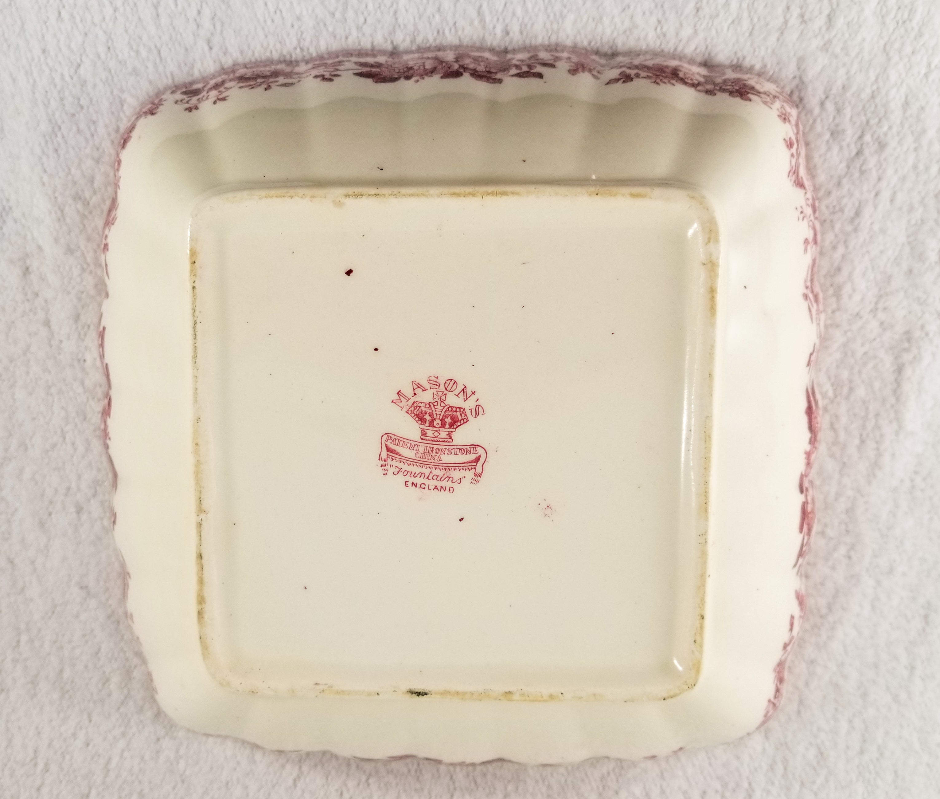 Vintage Square Vegetable Bowl in Fountains by Mason's Red Pink Transferware