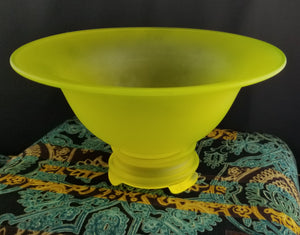 Vintage Canary Satin by Tiffin Console Bowl and Candlesticks Frosted Lemony Green