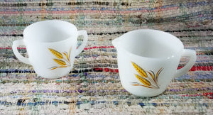 1960s Anchor Hocking Fire King Wheat Pattern Cream and Open Sugar