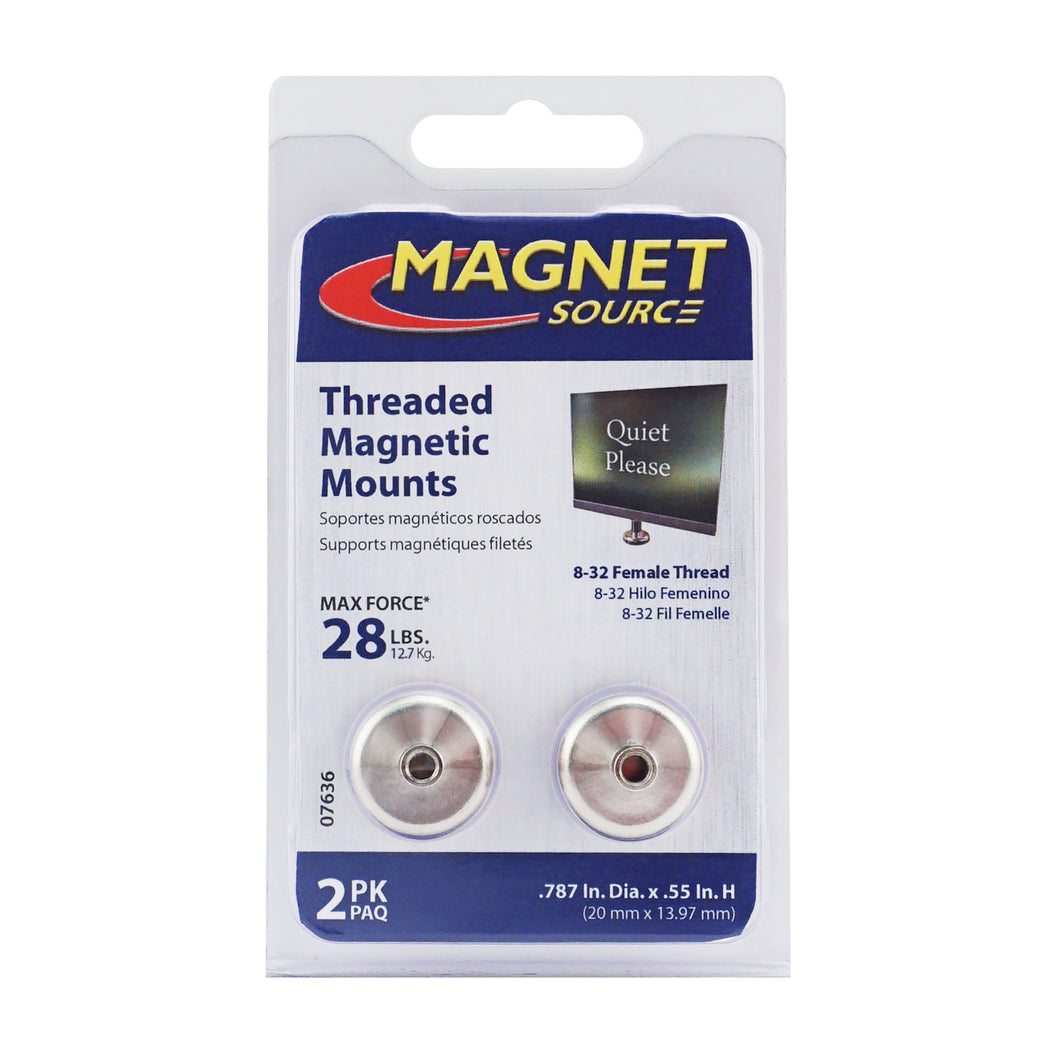 Grade 42 Neodymium Round Base Magnet with Female Thread (2pk)