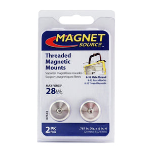 Grade 42 Neodymium Round Base Magnet with Male Thread (2pk)