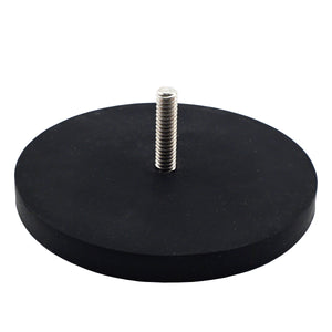 Neodymium Rubber Coated Round Base Magnet with Male Thread