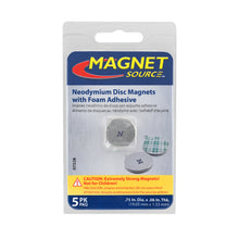 Load image into Gallery viewer, Neodymium Disc Magnets with Adhesive (5pk)