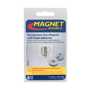 Neodymium Disc Magnets with Adhesive (8pk)