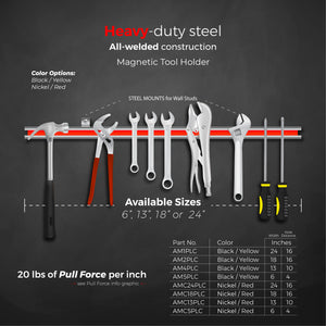 "6"" Magnetic Tool Bar, Screw Mount"