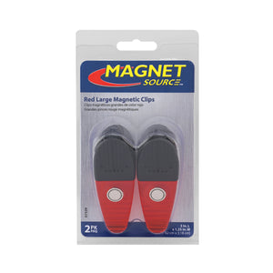 Large Neodymium Magnetic Clips (2pk, Red)
