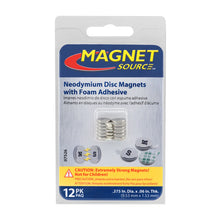 Load image into Gallery viewer, Neodymium Disc Magnets with Adhesive (12pk)