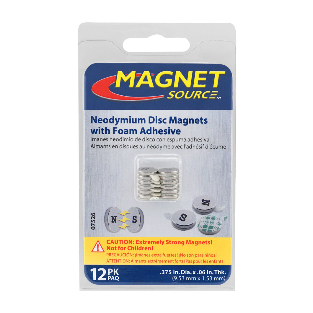 Neodymium Disc Magnets with Adhesive (12pk)