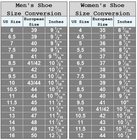 Shoe Sizes Fluent Clothing