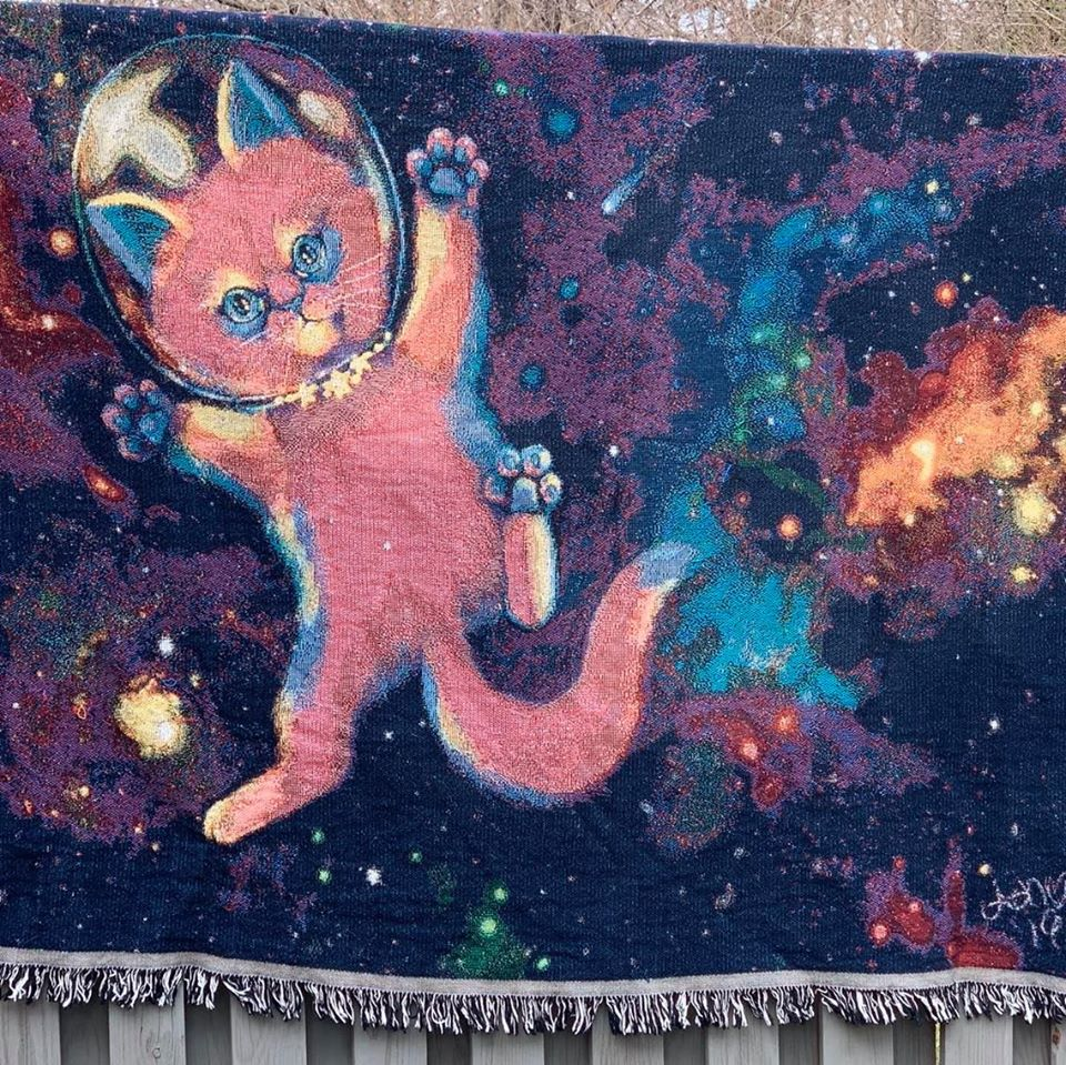 space cat cotton woven throw