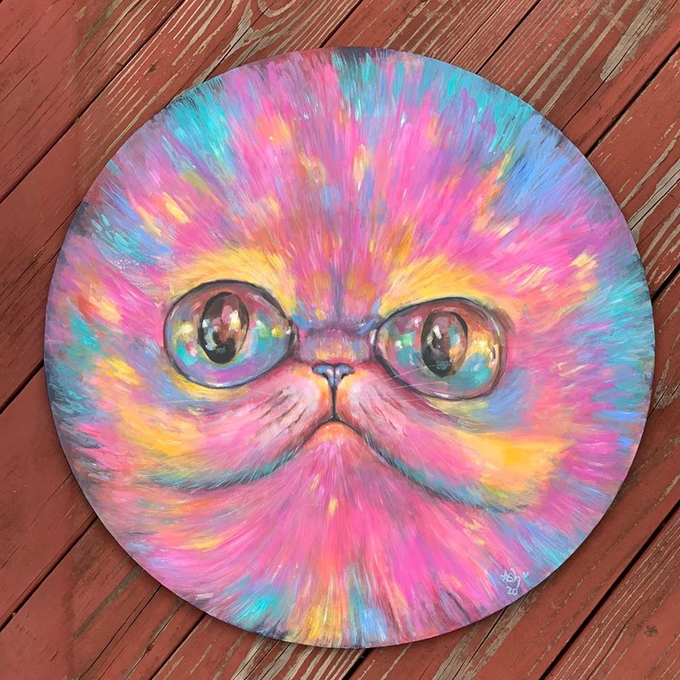 Ash Evans original rainbow cat face acrylic painting