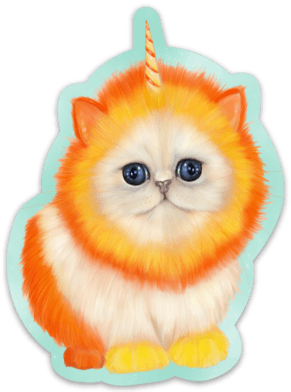 Mewnicorn Cat Sticker Sticker Ash Evans Candy Corn