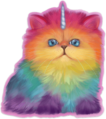 Mewnicorn Cat Sticker Sticker Ash Evans Rainbow