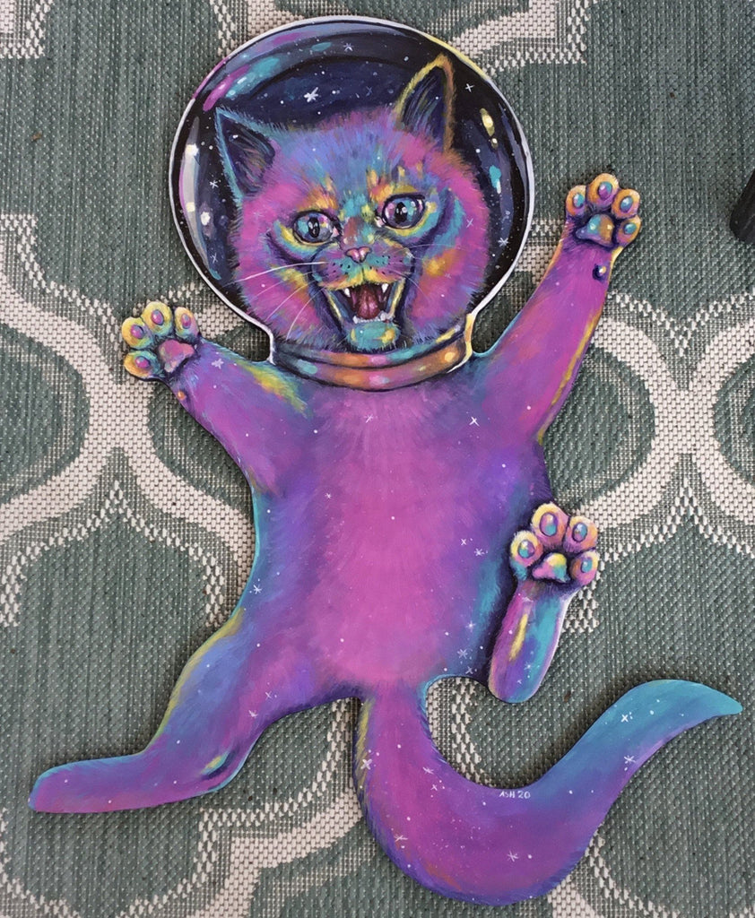Space Cat Vivid Acrylic Original Ash Evans