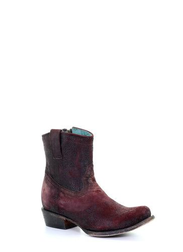 Distressed Wine Shortie Ankle Boots