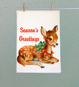 Season's Greetings Reindeer Tea Towel