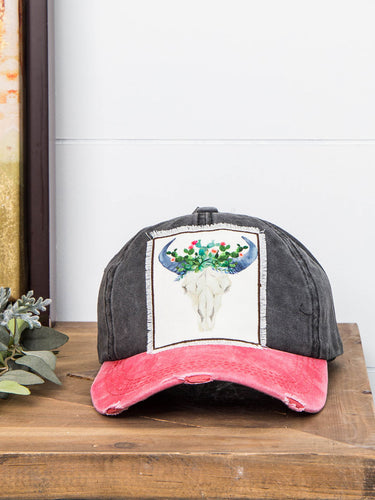 Cactus Bull Skull Distressed Hat