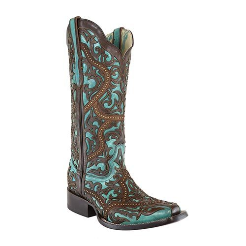 Turquoise with Brown Laser Overlay & Studs Boots