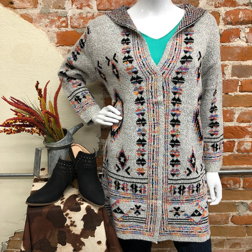 Grey Multi Hooded Sweater