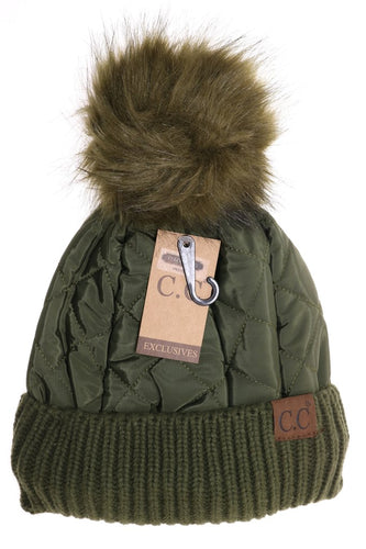 Fleece Lined Quilted Puffer Pom Beanie