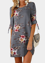 Load image into Gallery viewer, Floral Tab-Sleeve O-Neck Mini Dress