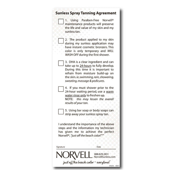 Norvell Sunless Agreements (Pre Session Client Check List)